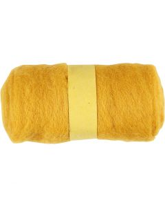 Carded Wool, yellow, 100 g/ 1 bundle