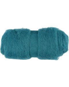 Carded Wool, emerald green, 100 g/ 1 bundle