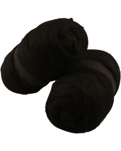 Carded Wool, black, 2x100 g/ 1 pack