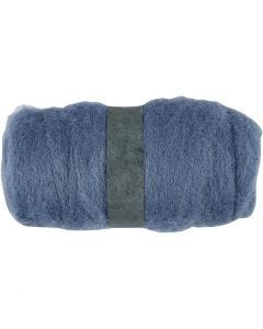 Carded Wool, sky blue, 100 g/ 1 bundle