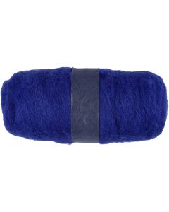 Carded Wool, royal blue, 100 g/ 1 bundle