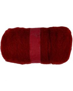 Carded Wool, warm red, 100 g/ 1 bundle