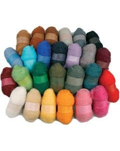 Carded Wool, assorted colours, 26x25 g/ 1 pack