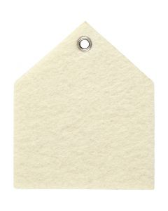 Felt shape, size 6,5x7,5 cm, thickness 3 mm, off-white, 5 pc/ 1 pack