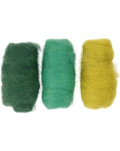 Carded Wool, green/off-white, 3x10 g/ 1 pack