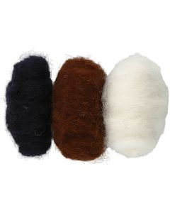 Carded Wool, black/off-white/brown harmony, 3x10 g/ 1 pack