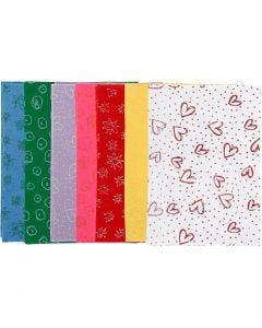 Craft Felt, A4, 210x297 mm, thickness 1 mm, assorted colours, 70 sheet/ 1 pack