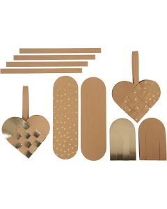 Faux leather paper hearts, thickness 0,55 mm, natural, gold, 1 set