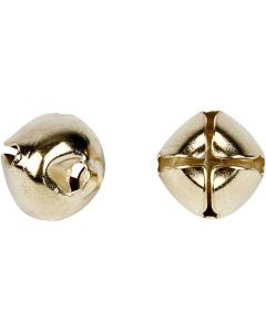 Bells, D: 8+10+13 mm, gold, 18 asstd./ 1 pack