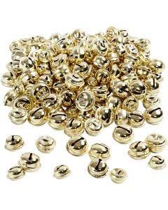 Bells, D: 13+15+17 mm, gold, 220 asstd./ 1 pack