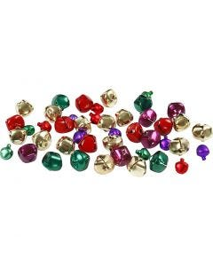 Bells, D: 10+14 mm, metallic colours, 24 asstd./ 1 pack