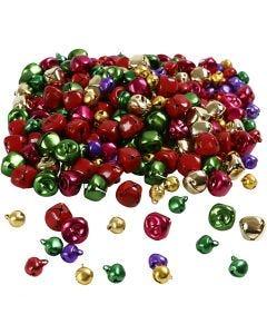 Bells, D: 10+14 mm, metallic colours, 320 asstd./ 1 pack
