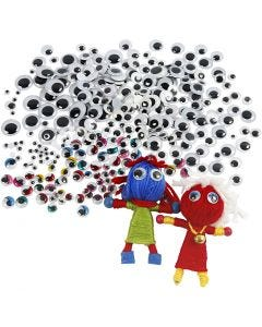 Googly Eyes, D: 4-20 mm, 1700 pc/ 1 pack