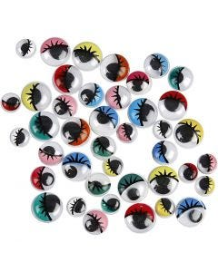 Googly Eyes, not sticky, D: 8-12 mm, 36 asstd./ 1 pack