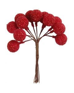 Artificial berries, D: 15 mm, christmas red, 12 pc/ 1 pack