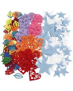 Felt shape, size 40-60 mm, Content may vary , assorted colours, 180 pc/ 1 pack