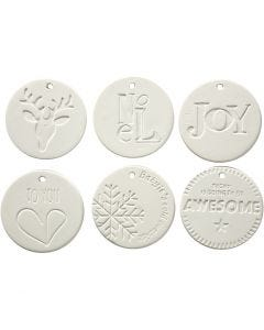 Hanging Ornaments, size 7x7 cm, thickness 0,6 cm, white, 24 pc/ 1 box