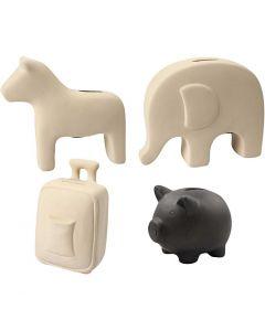 Money Boxes, H: 10-16 cm, black, white, 4x8 pc/ 1 box