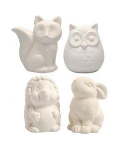 Animal Saving Banks, H: 9-10 cm, white, 4 pc/ 1 box
