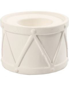 Candle Light Holder, H: 6,6 cm, D: 9,3 cm, hole size 2,2+4 cm, white, 2 pc/ 1 pack
