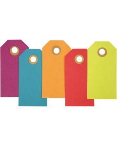 Manila Tags, size 4x8 cm, 250 g, assorted colours, 20 pc/ 1 pack