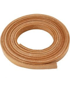 Leather band, W: 10 mm, thickness 3 mm, natural, 2 m/ 1 pack