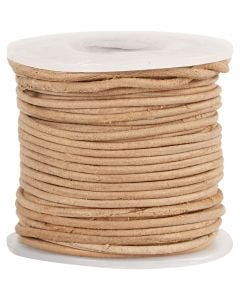 Leather Cord, thickness 1 mm, natural, 10 m/ 1 roll