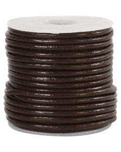 Leather Cord, thickness 2 mm, brown, 10 m/ 1 roll