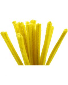 Pipe Cleaners, L: 30 cm, thickness 9 mm, yellow, 25 pc/ 1 pack