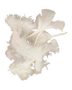 Feathers, size 7-8 cm, white, 50 g/ 1 pack