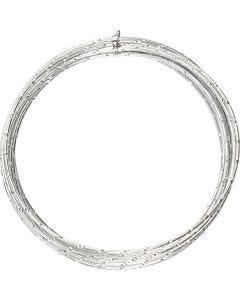 Aluminium Wire, diamond-cut, thickness 2 mm, silver, 7 m/ 1 roll