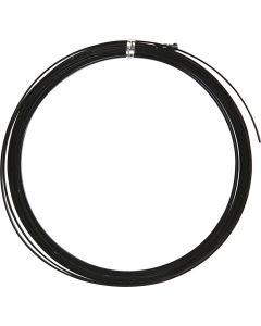 Aluminium Wire, flat, W: 3,5 mm, thickness 0,5 mm, black, 4,5 m/ 1 roll