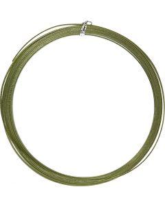 Aluminium Wire, flat, W: 3,5 mm, thickness 0,5 mm, green, 4,5 m/ 1 roll