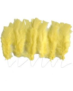 Feathers, L: 11-17 cm, yellow, 18 bundle/ 1 pack