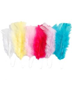 Feathers, L: 11-17 cm, assorted colours, 18 bundle/ 1 pack
