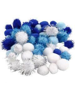 Pompoms, D: 15+20 mm, light blue, dark blue, white, 48 asstd./ 1 pack