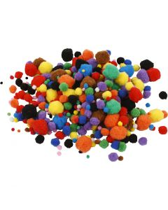 Pompoms, D: 5-40 mm, assorted colours, 42 g/ 1 pack