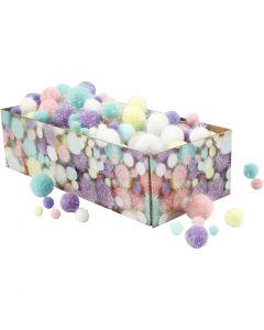 Pompoms, D: 15-40 mm, glitter, pastel colours, 400 g/ 1 pack