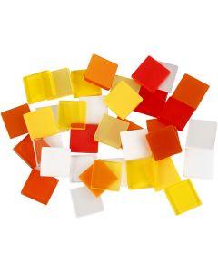 Mini Mosaic, size 10x10 mm, red/orange harmony, 25 g/ 1 pack