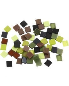 Mini Mosaic, size 5x5 mm, green glitter, 25 g/ 1 pack