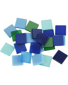 Mini Mosaic, size 10x10 mm, blue/green harmony, 25 g/ 1 pack