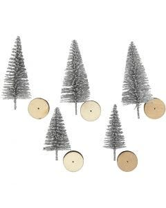 Christmas Spruce Trees, H: 40+60 mm, silver, 5 pc/ 1 pack