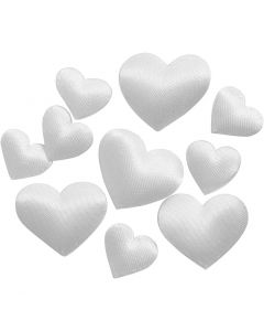Satin Hearts, size 10+20 mm, white, 70 pc/ 1 pack