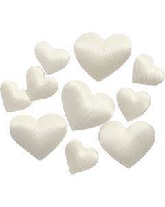 Satin Hearts, size 10+20 mm, off-white, 700 pc/ 1 pack