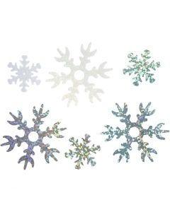 Sequins, D: 25+45 mm, light blue, silver, white, 250 g/ 1 pack