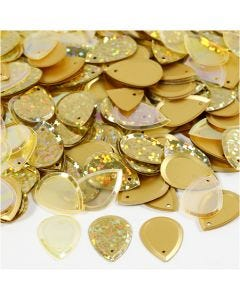 Sequins, size 14x19 mm, gold, 50 g/ 1 pack