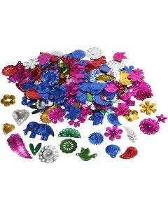 Sequins, size 15-45 mm, bold colours, 30 g/ 1 pack