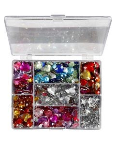 Rhinestones in Display Box, Rounds. stars. hearts, D: 6+7+9+10+11+12+14+16 mm, blue, pink, silver, 300 pc/ 1 pack