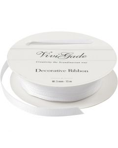 Decoration Ribbon, W: 6 mm, white, 15 m/ 1 roll