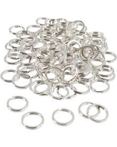 Split Ring, D: 15 mm, silver-plated, 100 pc/ 1 pack